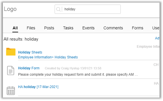 Search functionality for company intranet | Glasscubes